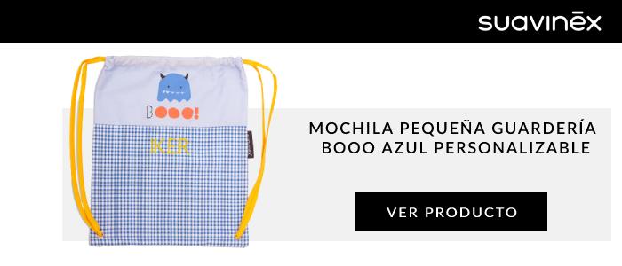 mochila pequena guarderia booo azul personalizable