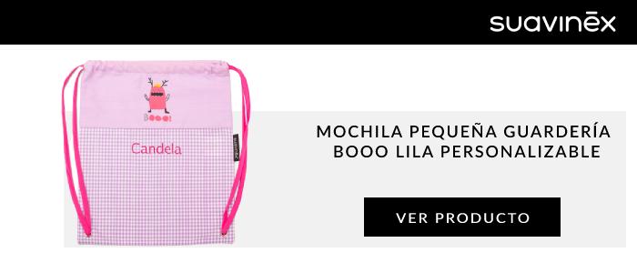 mochila pequena guarderia booo lila personalizable