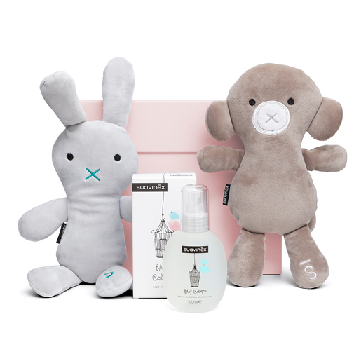 Set Baby Cologne con peluches caja rosa