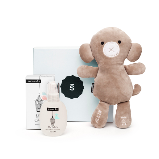 Set Baby Cologne con Safari, the monkey personalizado, y caja azul