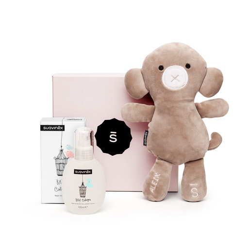 Set Baby Cologne con Safari, the monkey personalizado, y caja rosa