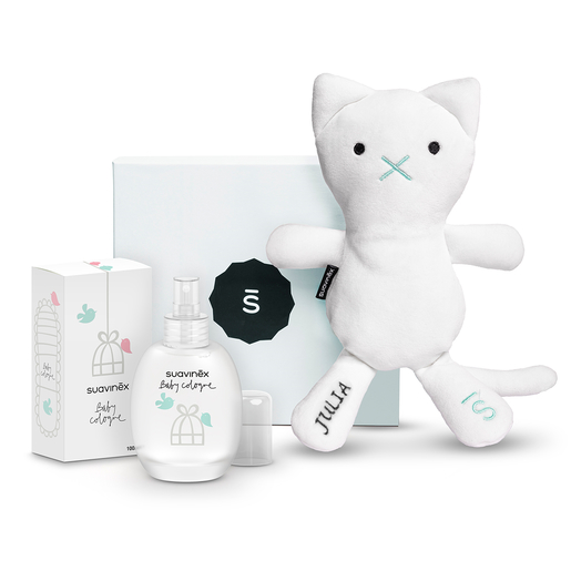 Set Baby Cologne con Sushi, the cat, personalizado y caja azul