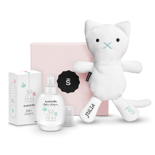 Set Baby Cologne con Sushi, the cat, personalizado y caja rosa
